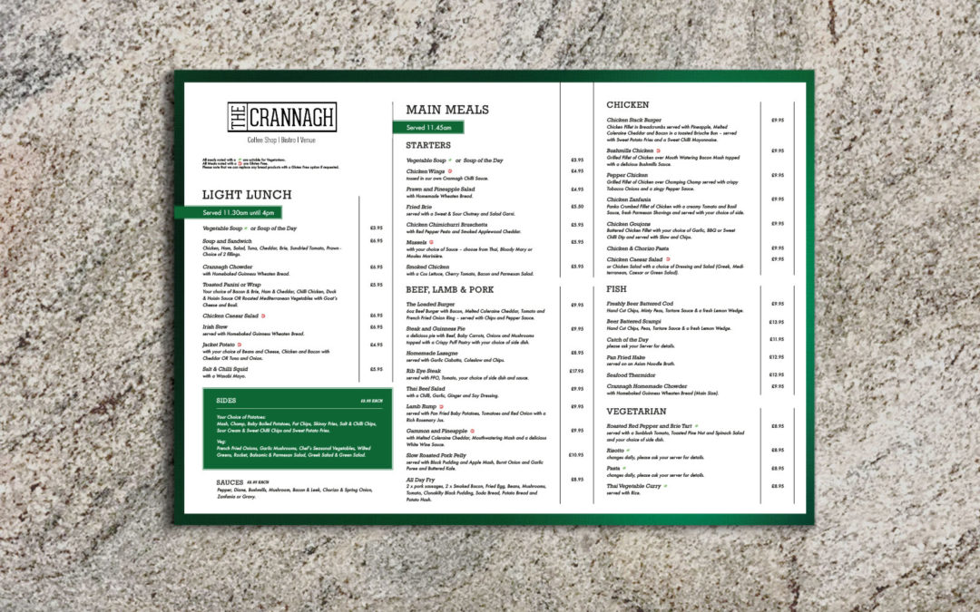 The Crannagh – Menu Design